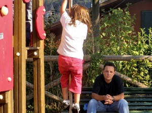Dad and daughter on playground