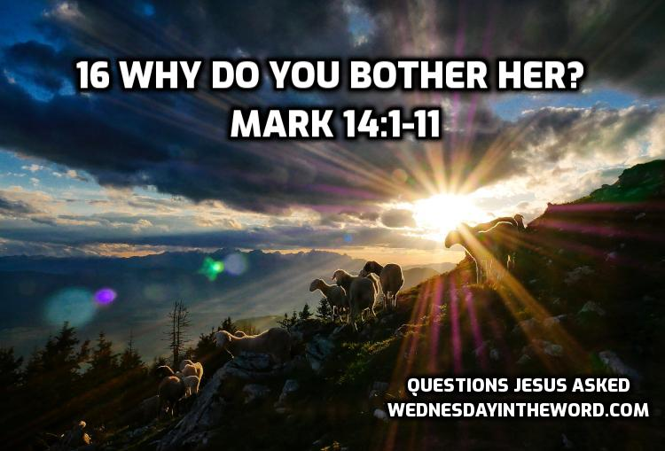 16 Why do you bother her? Mark 14:1-11 | WednesdayintheWord.com
